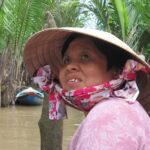 Mekong Deltası'nda Vietnam'lı bir kadın